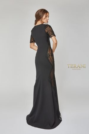 Short Sleeve Bead Paneled Long Dress – 1922E0249