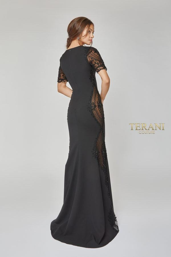 Short Sleeve Bead Paneled Long Dress - 1922E0249