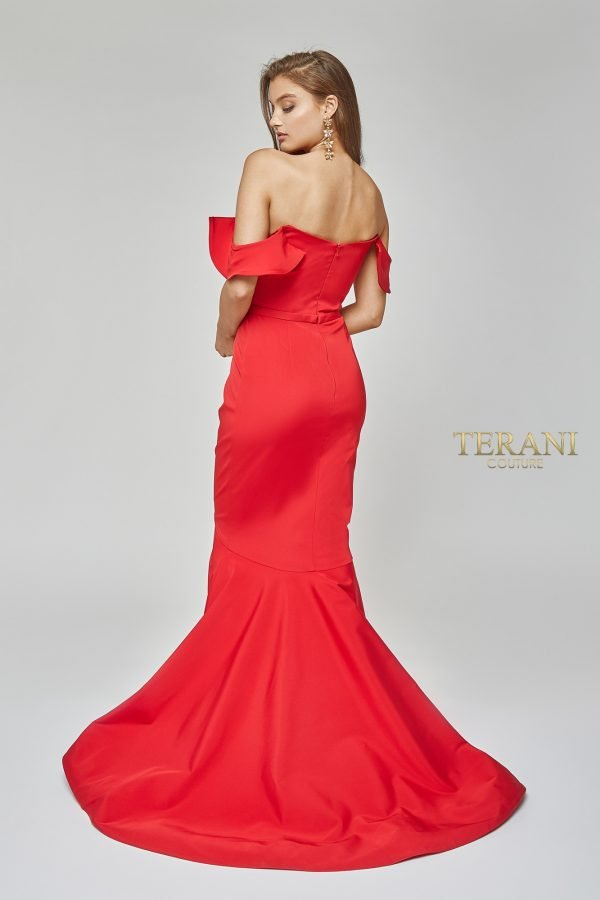 Off the shoulder high low mermaid gown, 1922E0255.