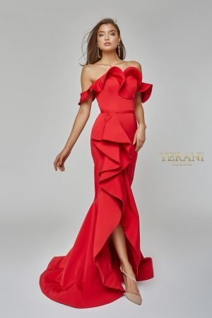 Off the Shoulder High Low Mermaid Gown – 1922E0255