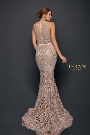 Sleeveless Sheer Embroidered Bead Detailed Long Gown | 1922E0259