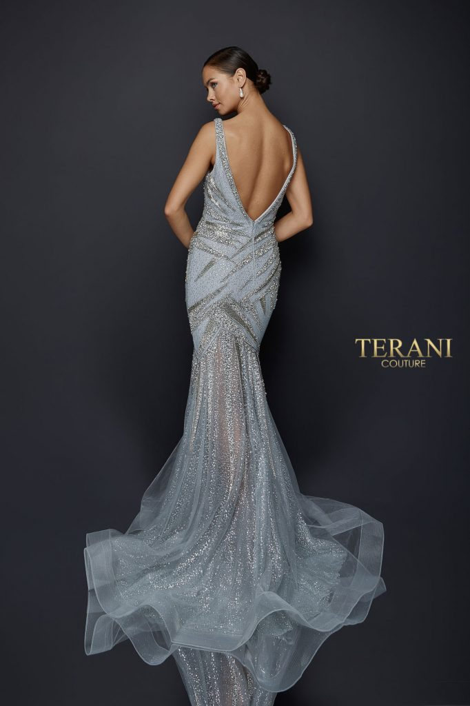 Sparkling fitted gown with glitter mermaid skirt - 1922GL0651