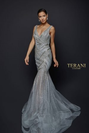 Sparkling Fitted Gown with Glitter Mermaid Skirt – 1922GL0651