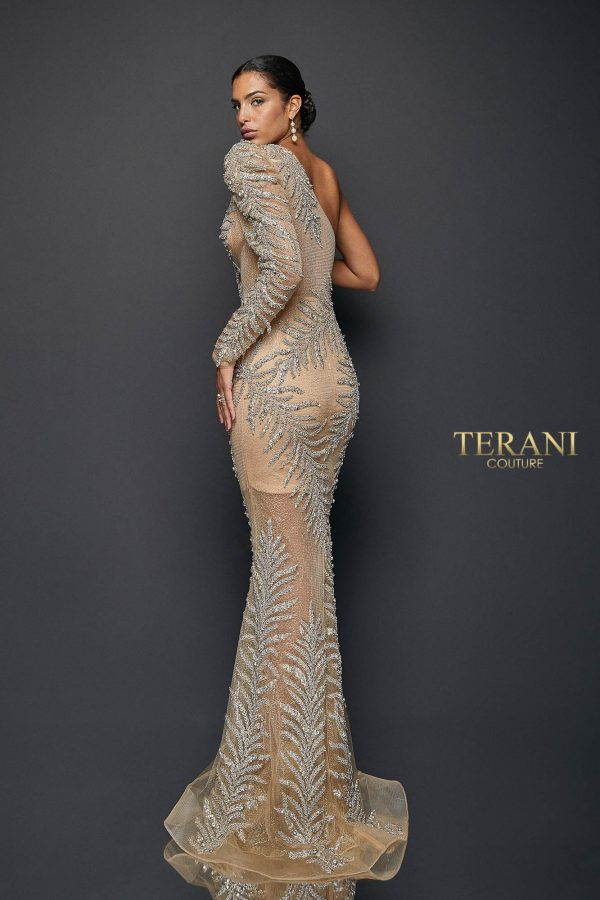 Exotic One Tulle Sleeved Sheer Mermaid Gown | 1922GL0659