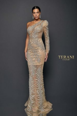 Exotic One Tulle Sleeved Sheer Mermaid Gown | 1922GL0659