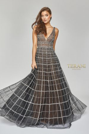 Deep v Neck Fit and Flare Gown – 1922GL0663