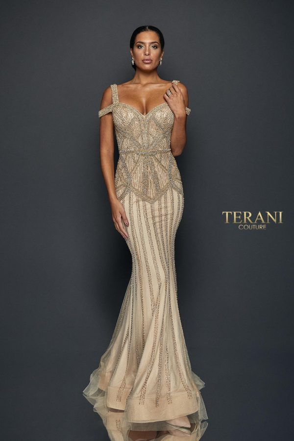 Front image for style number 1922GL0680, Double strapped geometric beaded long gown
