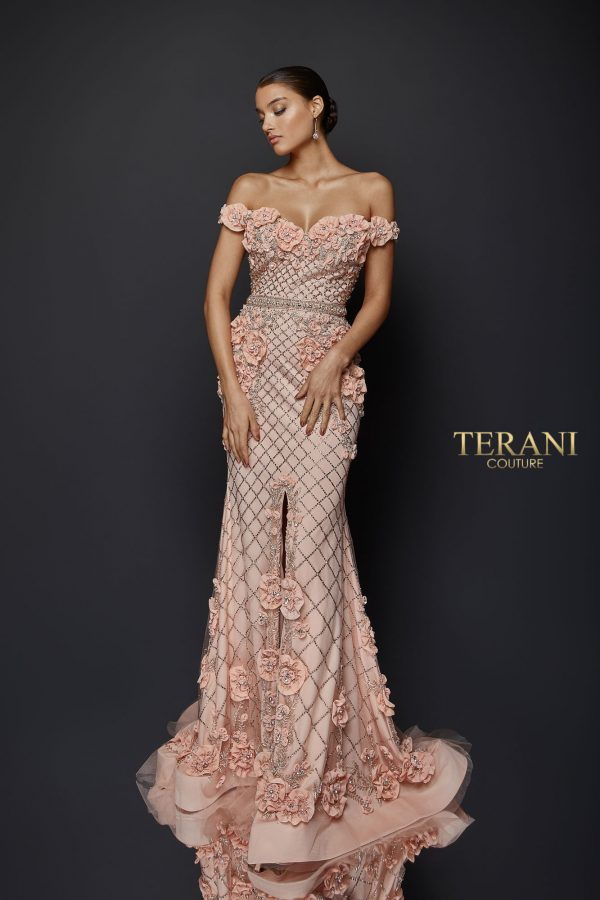 Off the shoulder floral fitted gown - 1922GL0682.