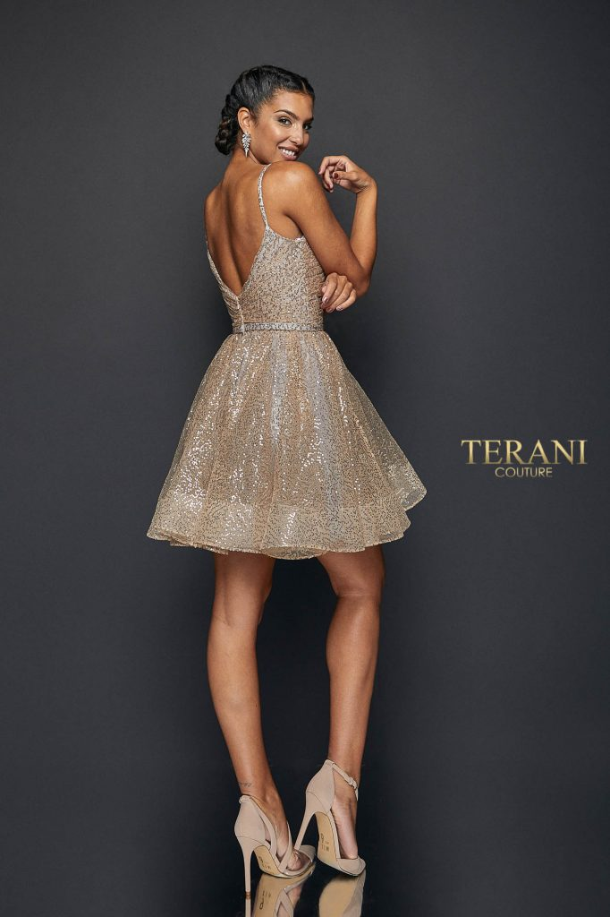 Spaghetti straps with gathered flary Homecoming skirt dress - 1922H0420