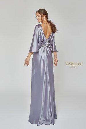Draped Bat Sleeve Elegant Gown – 1922M0531