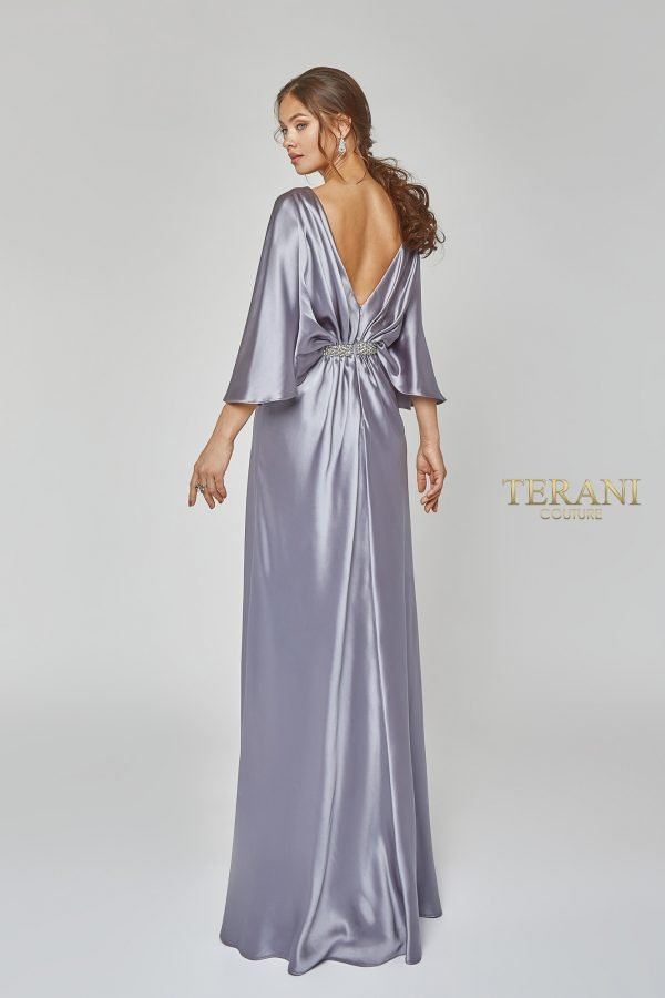 Draped bat sleeve elegant gown, 1922M0531