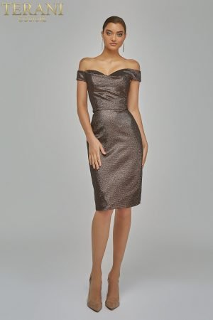 Metallic off Shoulder Cocktail Dress 1921C0024