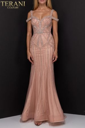 Double Strapped Geometric Beaded Long Gown | 1922GL0680