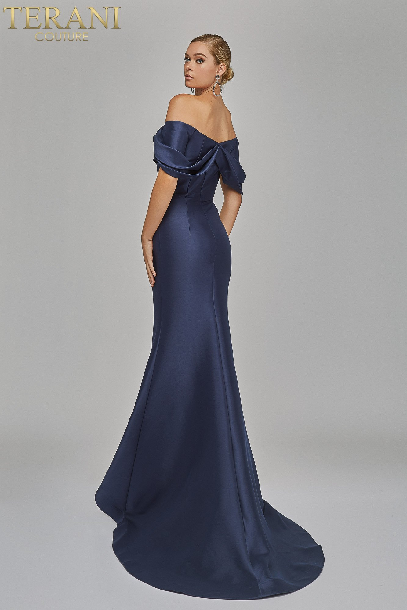 Eye catching off shoulder Evening stretch Mikado Gown - 1921E0113