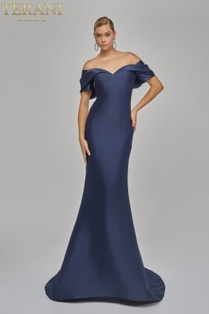 Eye catching off shoulder Evening stretch Mikado Gown – 1921E0113
