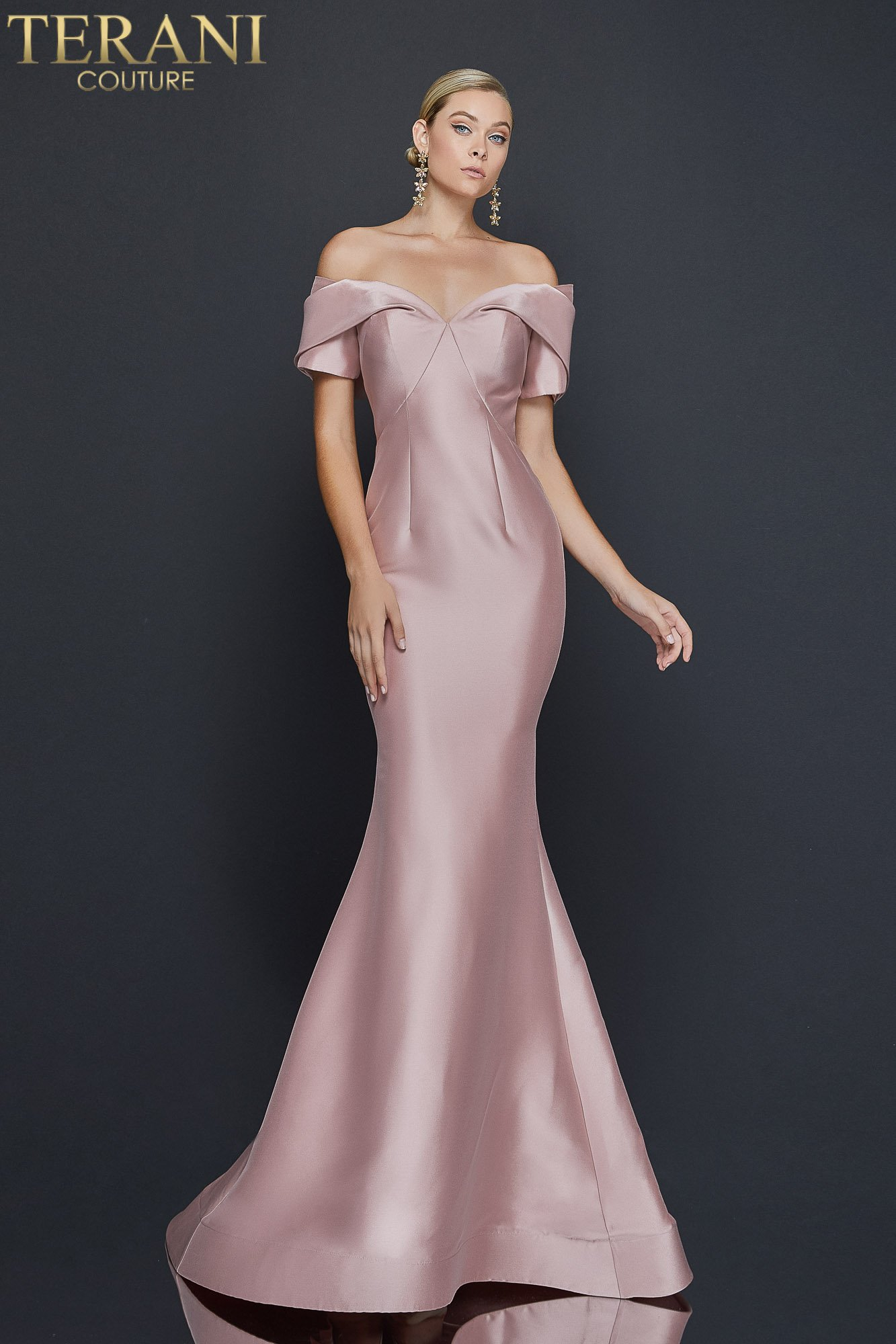 Eye catching off shoulder stretch Mikado gown - 1921E0113