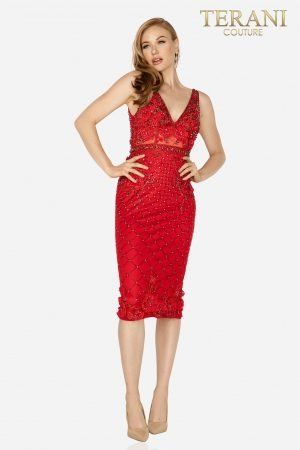 Gorgeous 3D roses and bead emebllished cocktail dress – 2011C2005