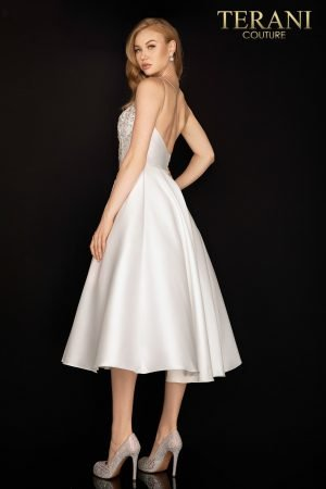 One shoulder asymmetrical tea length cocktail dress – 2011C2007