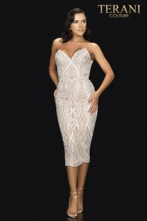 Strapless fitted cocktail dress with embroidery and crystals –  2011C2008