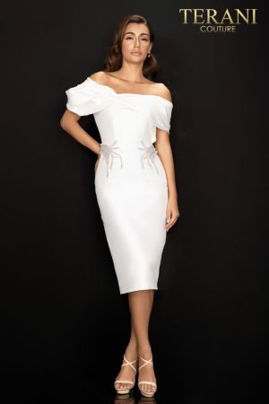 Waist beaded Off shoulder Mikado cocktail dress – 2011C2009