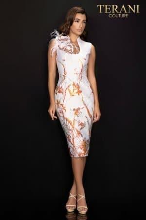 Border print Jacquard cocktail dress  – 2011C2011