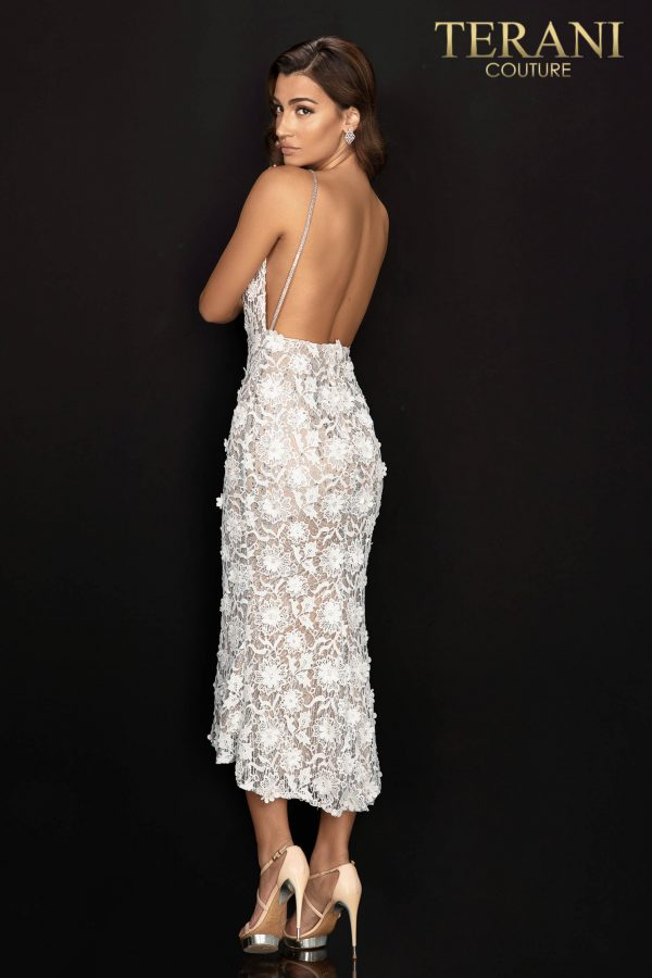 Style: 2011C2013 - 3D floral, lace, and glitter cocktail dress with beaded straps