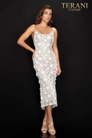3D floral, lace, and glitter cocktail dress with beaded straps – 2011C2013
