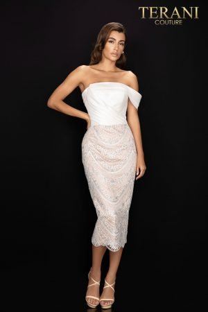One arm wrap cocktail dress with beaded lace skirt – 2011C2017