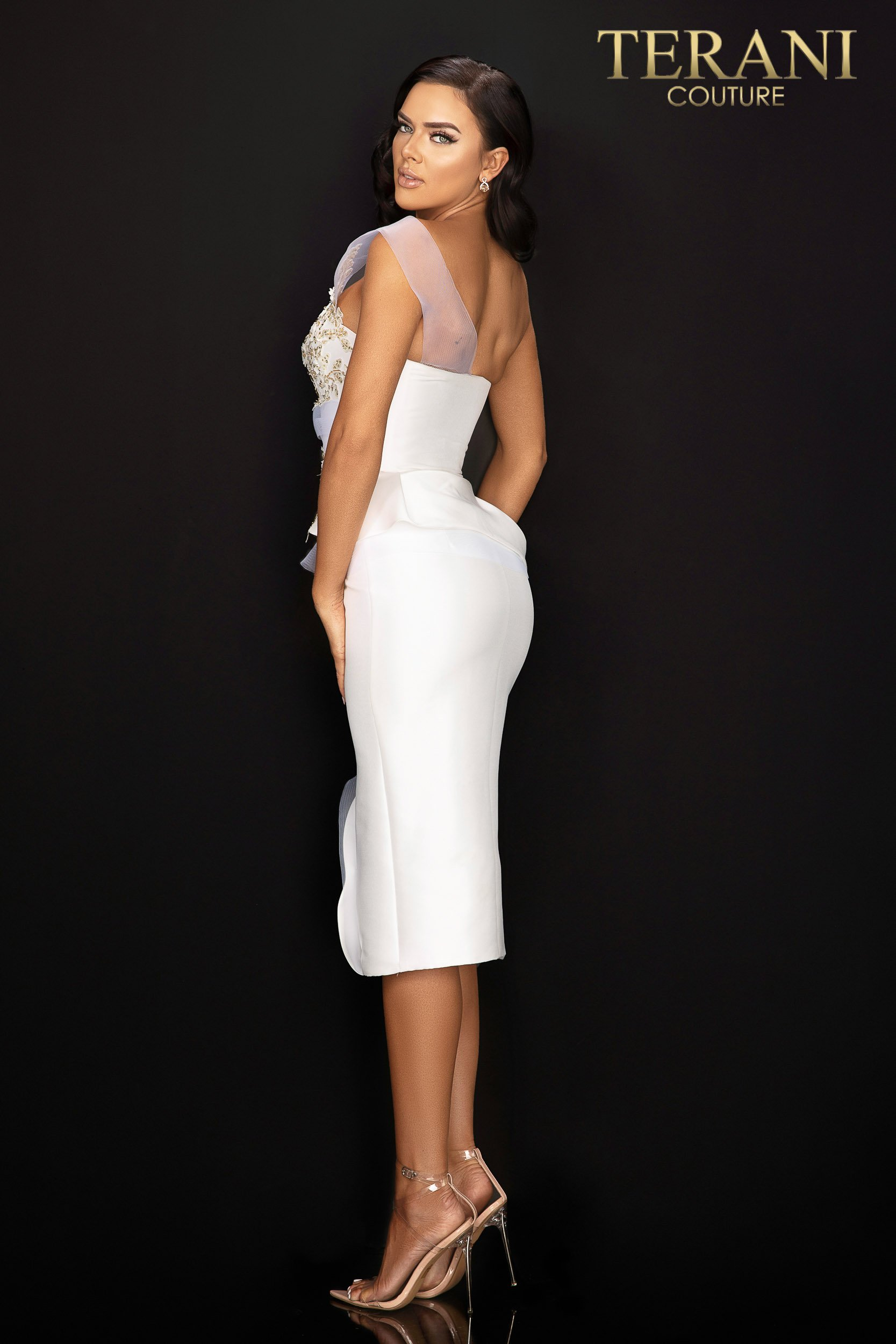 Style: One shoulder cocktail dress with peplum and center slit – 2011C2020