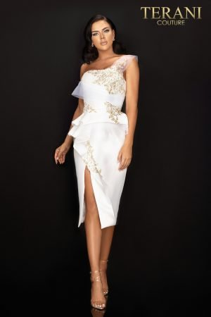 One shoulder cocktail dress with peplum and center slit – 2011C2020