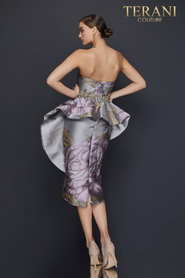 Strapless printed cocktail dress with waist beading and peplum - 2011C2023 Back