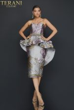 Strapless printed cocktail dress with waist beading and peplum - 2011C2023