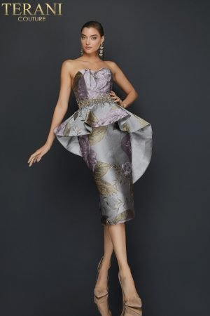 Strapless printed cocktail dress with waist beading and peplum – 2011C2023