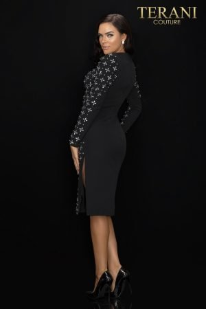 Long sleeve crystal detailed cocktail dress – 2011C2025