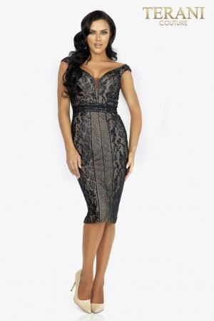Lace panel cocktail dress with fine beading – 2011C2028