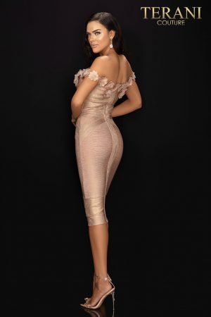 3D floral off the shoulder bandage cocktail dress – 2011C2519