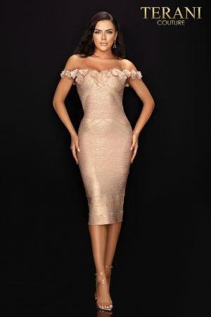 3D floral off the shoulder bandage cocktail dress – 2011C2519