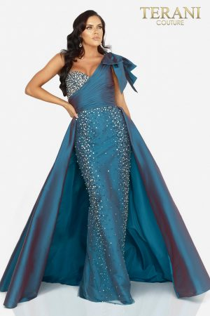 Crystal embellished one shoulder evening gown with overskirt – 2011E2036