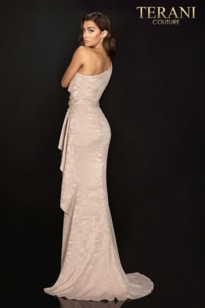 Suede one shoulder and sleeve evening gown with side slit and peplum – 2011E2038