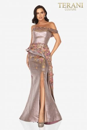 One arm printed Jacquard evening gown with 3D flowers and side slit – 2011E2040