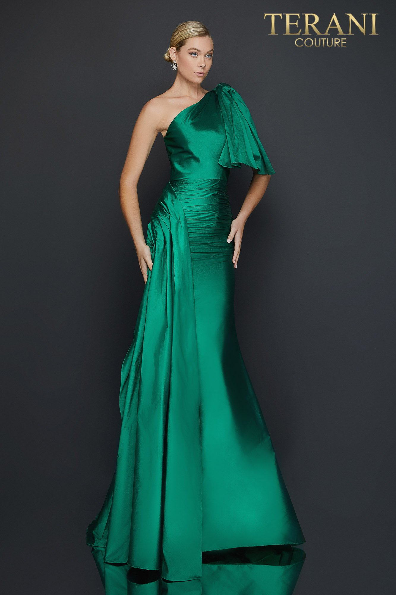 Draped one shoulder Taffeta mermaid evening dress - 2011E2044