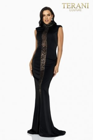 Sexy illusion panel high neck beaded evening gown – 2011E2046