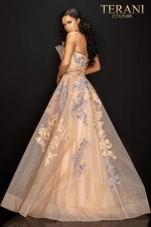 Strapless lace applique long evening ball gown – 2011E2047