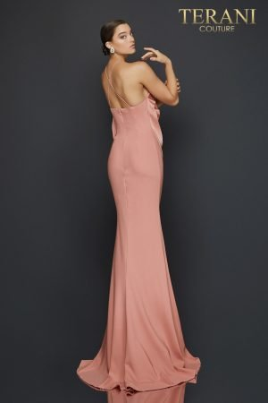 Halter neck evening gown with cascading bodice detail – 2011E2050