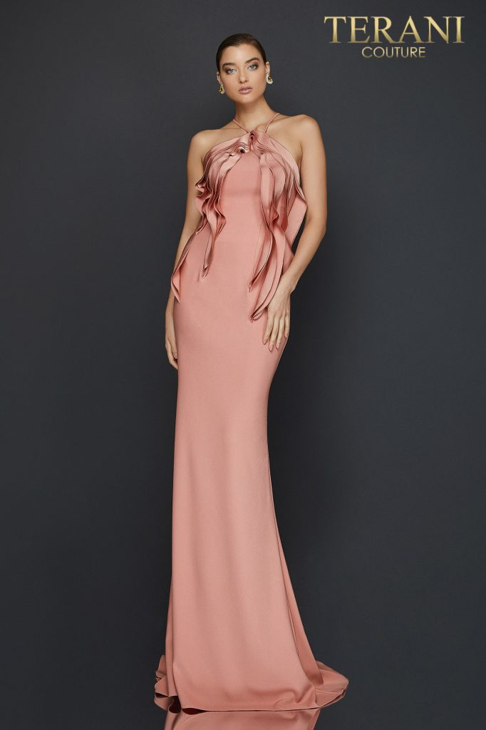 Halter neck evening gown with cascading bodice detail - 2011E2050
