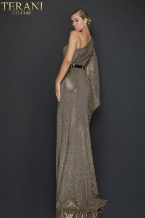Metallic cascading one sleeve evening dress with slit – 2011E2055