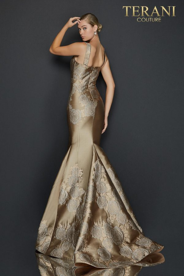 Sleeveless mermaid jacquard evening gown with bow detail - 2011E2056
