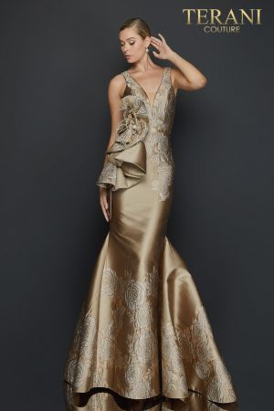 Sleeveless mermaid jacquard evening gown with bow detail – 2011E2056