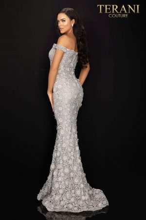3D flower off shoulder lace evening gown – 2011E2058