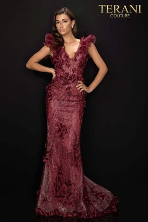Organza shoulder detailed evening dress with 3D flowers – 2011E2060